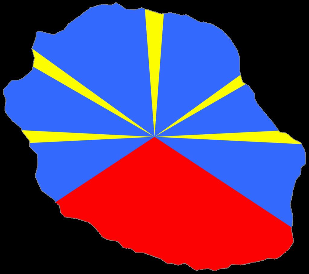 Carte de la Réunion aux couleurs de son drapeau